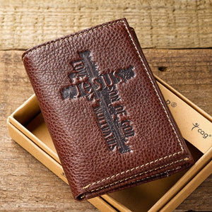 Tri Fold Leather Wallet With Cross