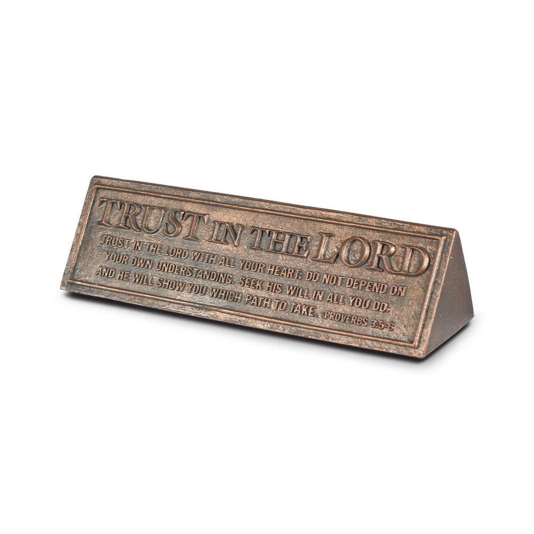 Trust In The Lord Bronze Desktop Plaque