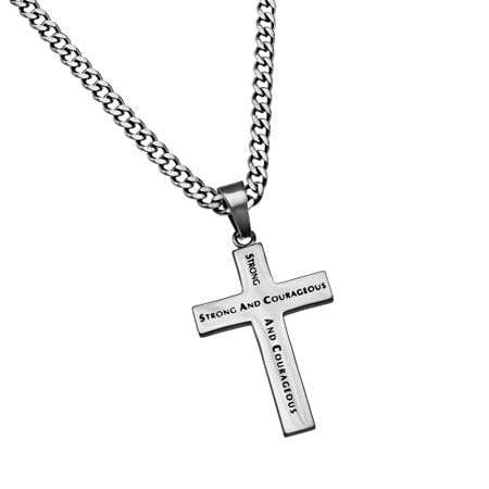Truth Cross Necklace Strong And Courageous Joshua 1:9
