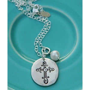 Vintage Stamped Cross Necklace