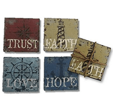Virtues Faith, Hope, Love, Trust Coasters