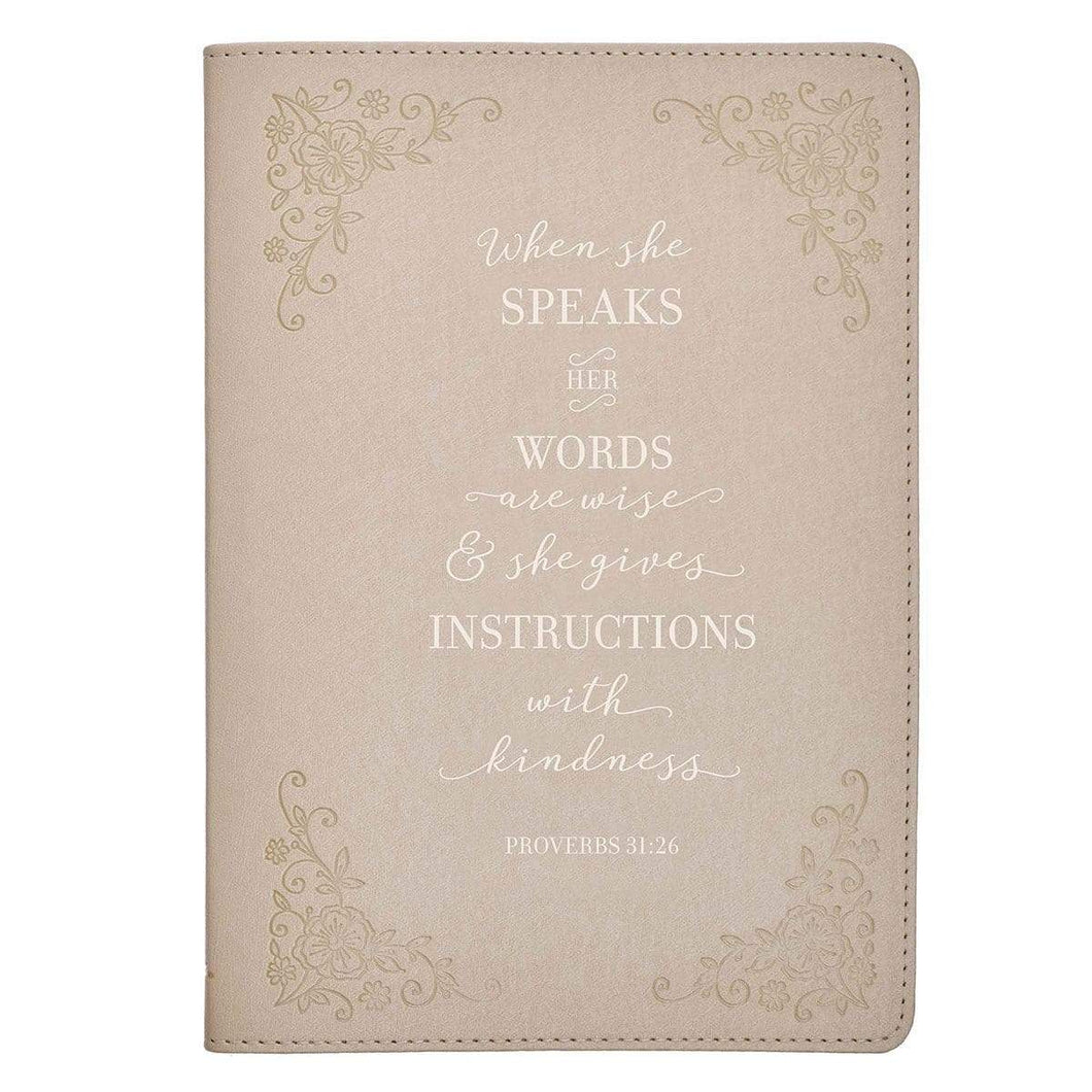 When She Speaks Proverbs 31:26 Journal - Taupe