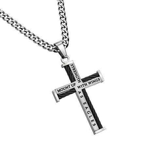 Mount Up With Wings As Eagles Cable Cross Necklace