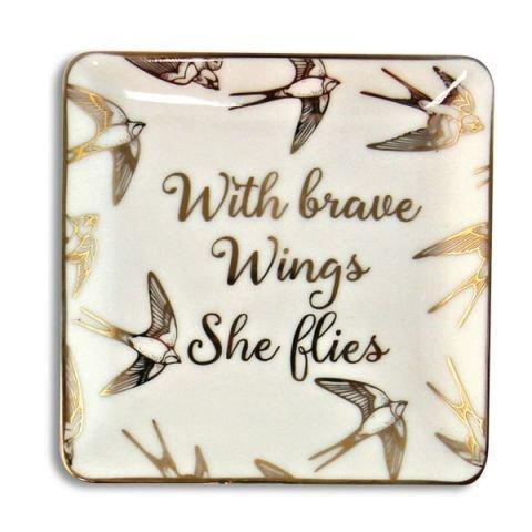 With Brave Wings Ceramic Jewelry Tray