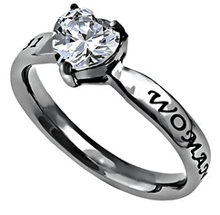 Woman Of God CZ Heart Ring