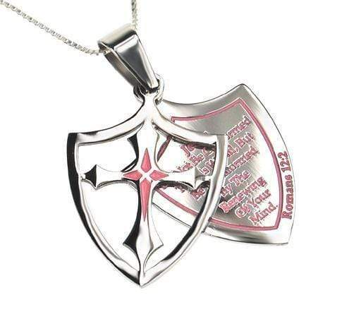 Women's 2 Piece Shield Cross Necklace Transformed