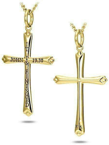 Women's Gold Cross Necklace John 19:30