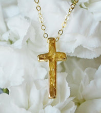 Women's Hammered Gold Cross Necklace