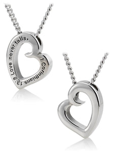 Women's Heart Necklace Love Never Fails