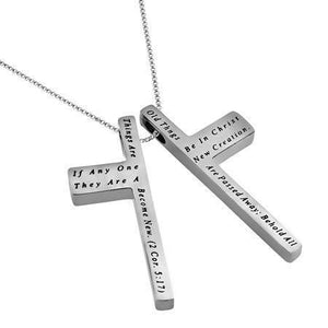 Women's Iron Cross Necklace New Creation Bible Verse
