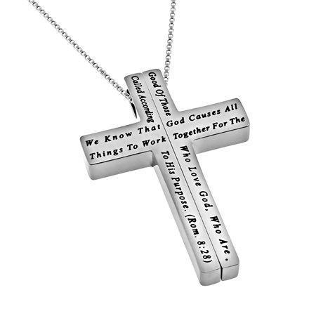 Women's Iron Cross Necklace Together Bible Verse