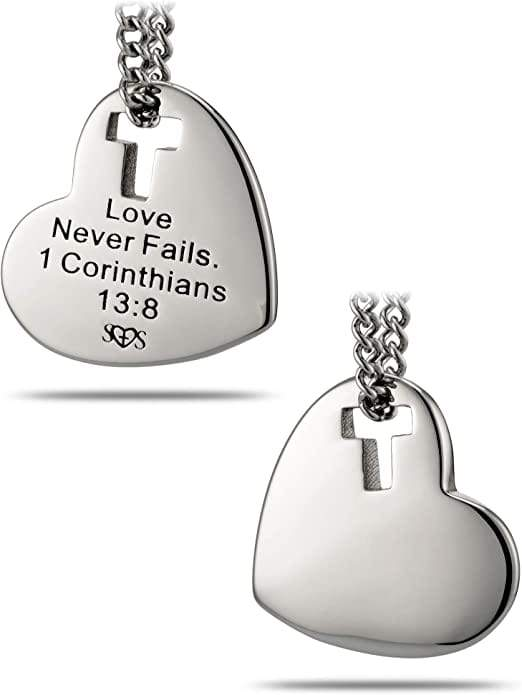 Women's Stainless Steel Heart Cross Necklace Love Never Fails