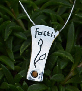 Women's Sterling Silver Faith Necklace With Mustard Seed