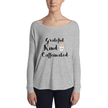 Grateful, Kind, and Caffeinated Women's Flowy Long Sleeve