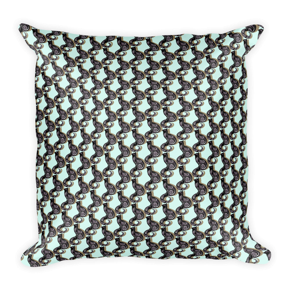 SWIRLY CATS  GALORE Square Pillow - COOOL CATS