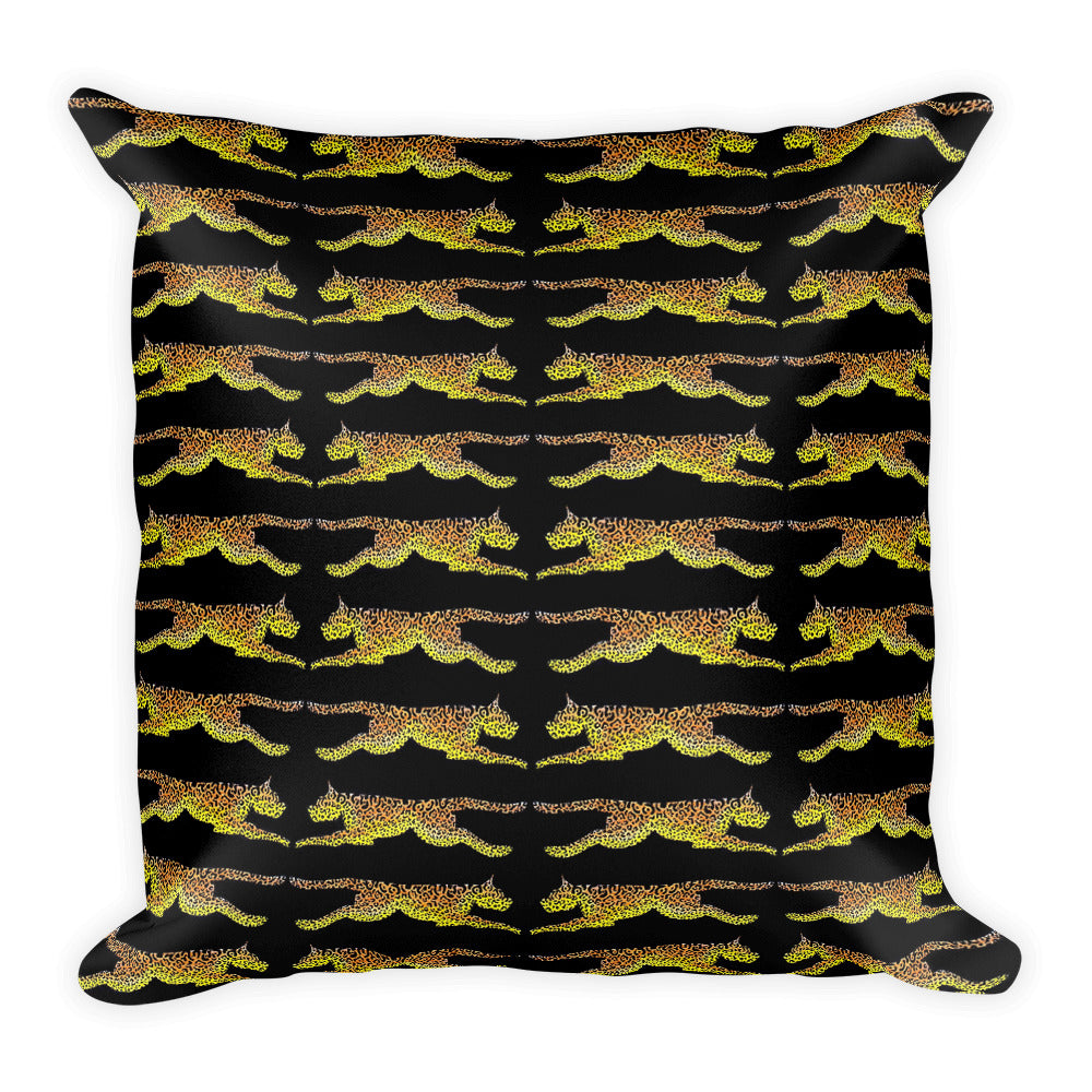 LEAPING LEOPARDS Square Pillow