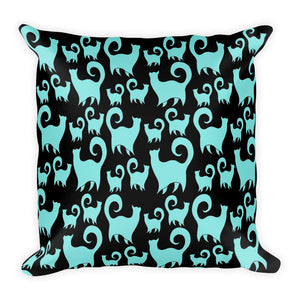 BLUE SNOBBY CATS Square Pillow - COOOL CATS