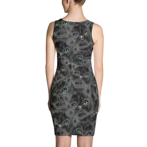 BLACK KITTY FACES Sublimation Cut & Sew Dress - COOOL CATS