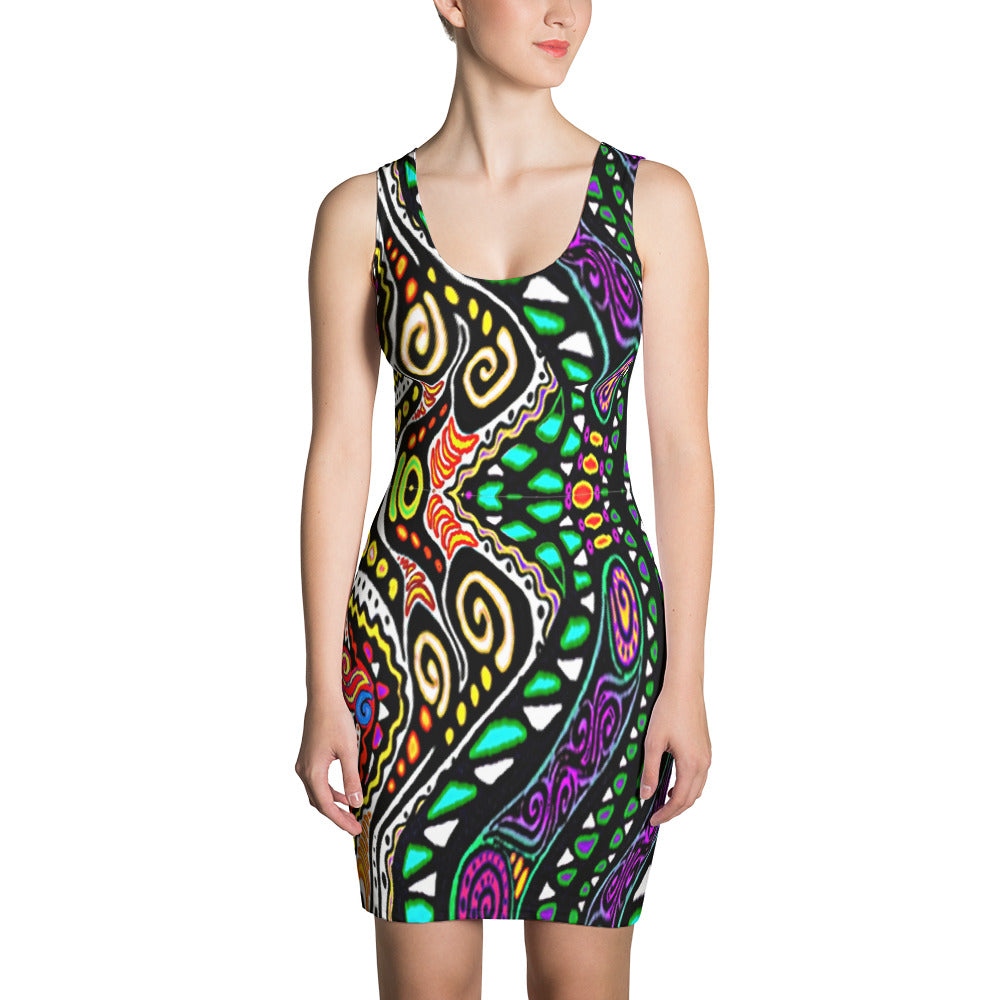 SWIRLY Sublimation Cut & Sew Dress - COOOL CATS