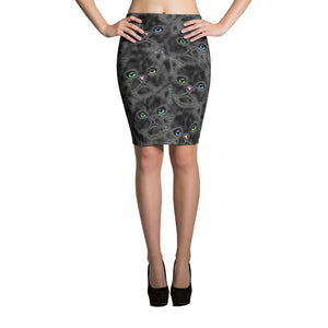 BLACK KITTY FACES Pencil Skirt - COOOL CATS