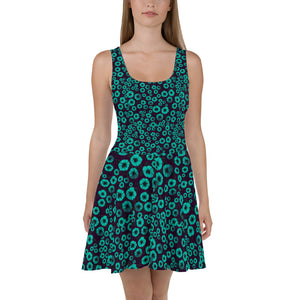 Aqua Flowers Burst designer Skater Dress by John A. Conroy