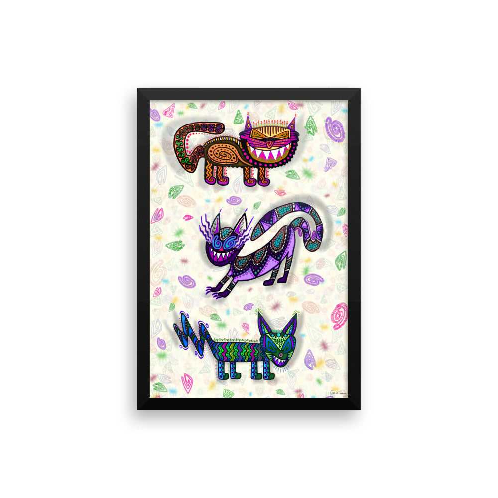SNEAKY CATS Framed poster - COOOL CATS