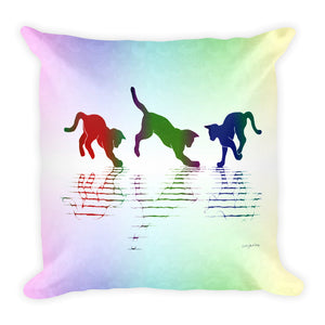 RAINBOW REFLECTIONS Square Pillow - COOOL CATS