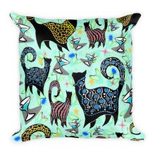 AQUA SNOBBY COCKTAILS Square Pillow - COOOL CATS