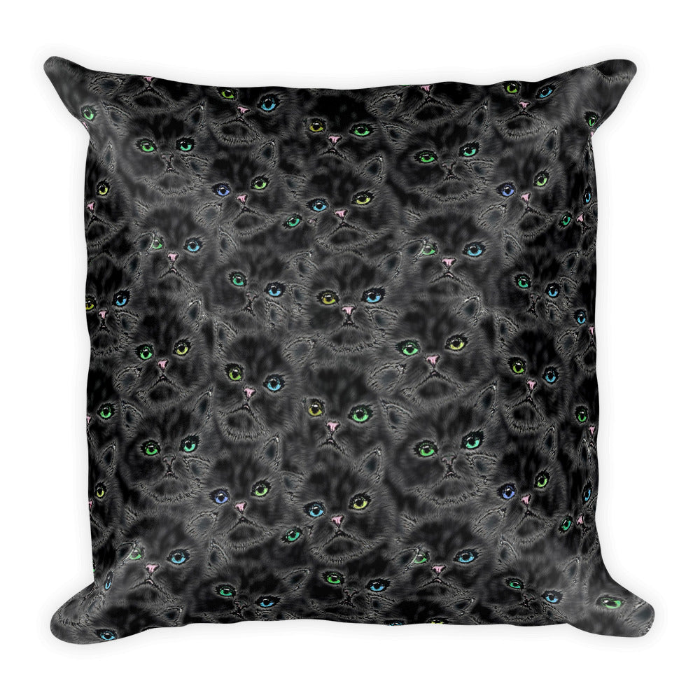 BLACK KITTY FACES Square Pillow - COOOL CATS