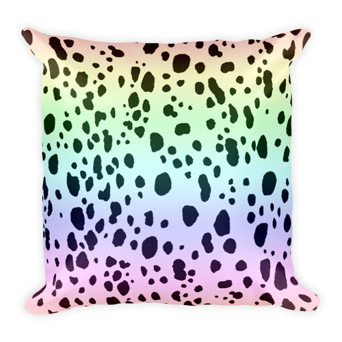RAINBOW DALMATIANS SPOTS Square Pillow - COOOL CATS