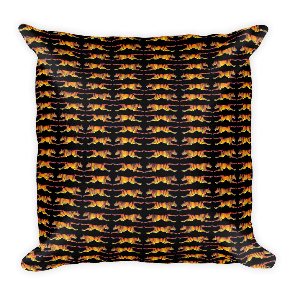 LEAPING TIGERS Square Pillow