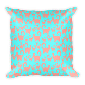 PINK CATS/BLUE Square Pillow - COOOL CATS