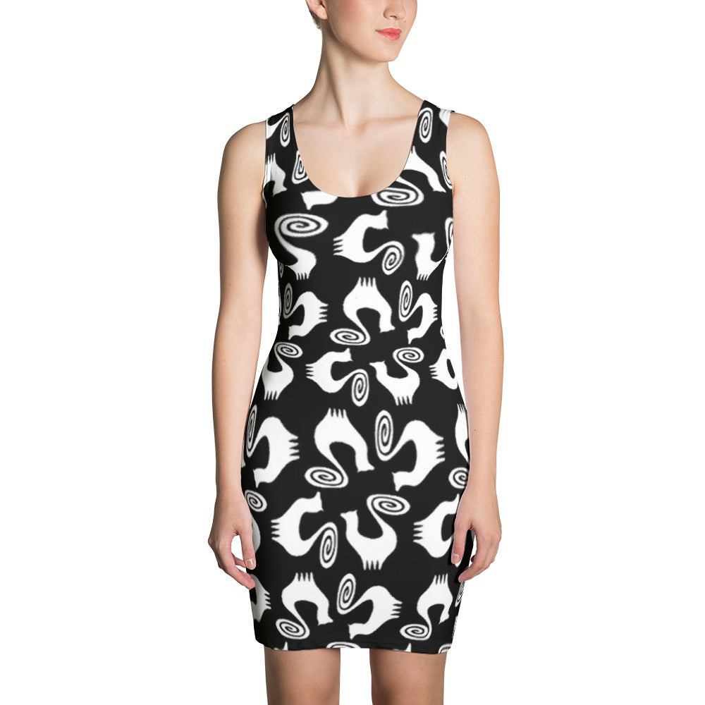 SNOOTY CATS SQUARES Sublimation Cut & Sew Dress - COOOL CATS