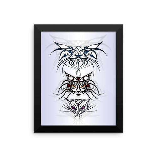 TRIBAL CATS SPIRITS Framed poster - COOOL CATS