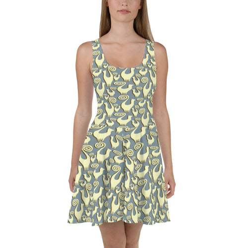 Snooty Cats scatter designer Skater Dress by John A. Conroy