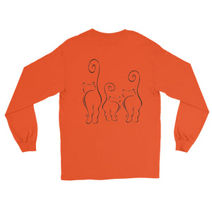 CATS SILHOUETTES Long Sleeve T-Shirt (2 sided front & back) - COOOL CATS