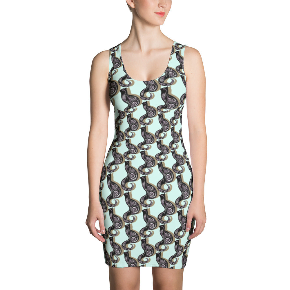 BLUE SWIRLY CATS Sublimation Cut & Sew Dress - COOOL CATS