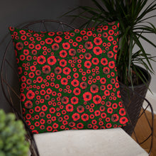 Bright Red Roses designer Basic Pillow by John A. Conroy
