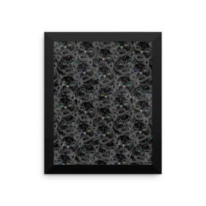 LUCKY BLACK KITTY FACES Framed poster - COOOL CATS