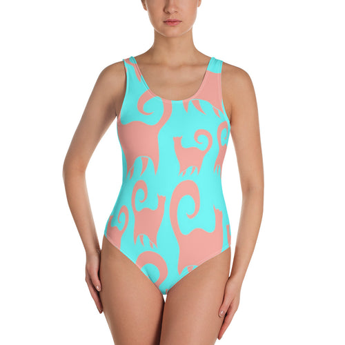 Pink and Blue Kittys One-Piece Swimsuit
