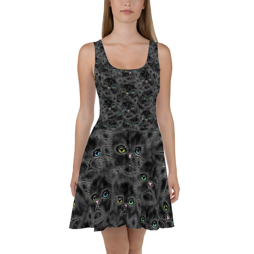 Black Kitty Faces Skater Dress
