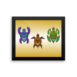 TRIBAL TURTLES MASKS Framed poster - COOOL CATS