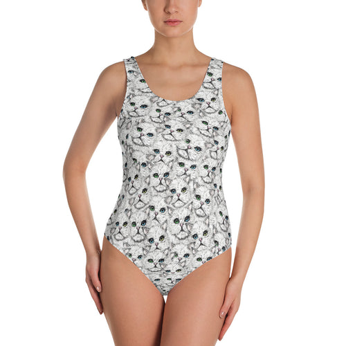 Angora Faces One-Piece Swimsuit