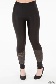 Leggings svartar m/silfur gata