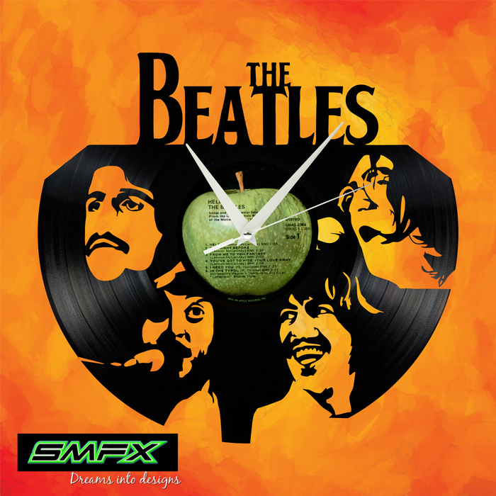 Beatles Laser Cut Vinyl Record artist representation or vinyl clock