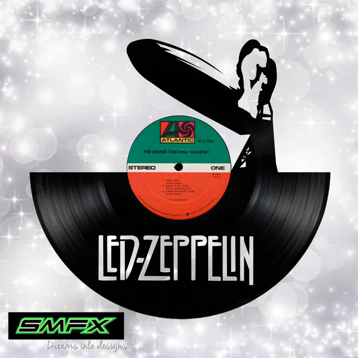Led Zeppelin Laser Cut Vinyl Record artist representation or vinyl clock