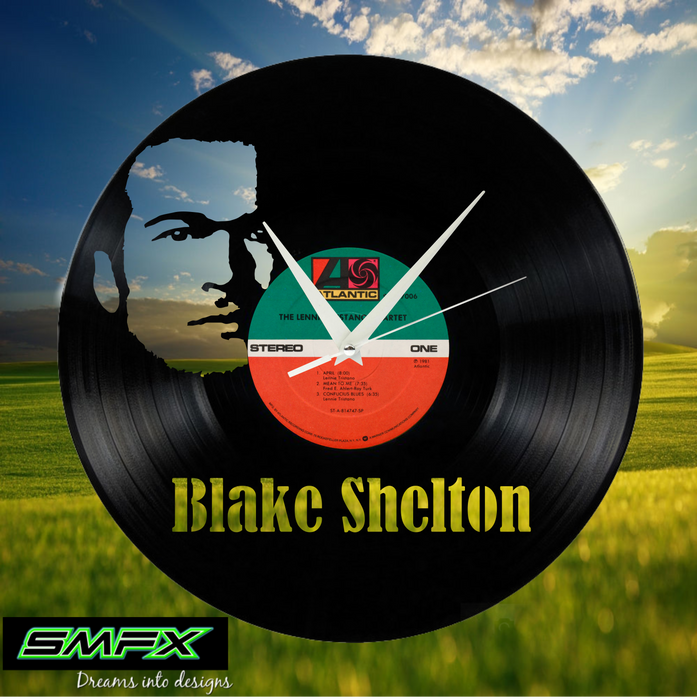 blake shelton Laser Cut Vinyl Record artist representation or vinyl clock