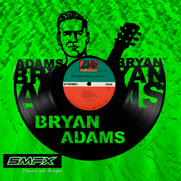 Bryan Adams Laser Cut Vinyl Record artist representation or vinyl clock