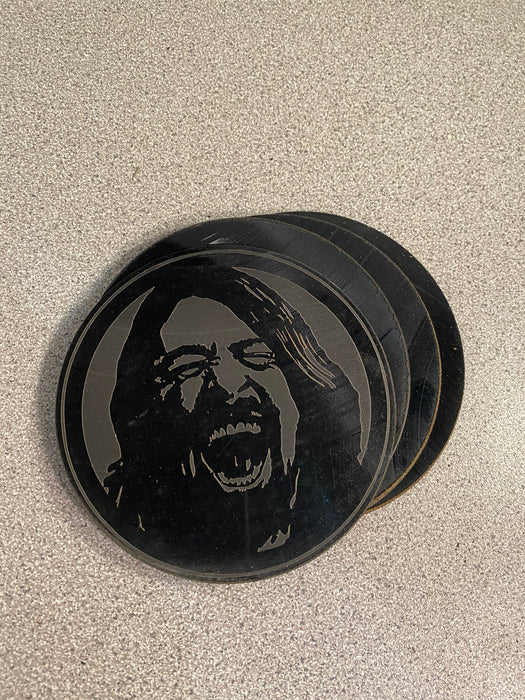 foo fighters dave grohl Laser Engraved Coaster Set of 4 Cut Vinyl Record artist representation