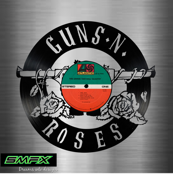 guns and roses Laser Cut Vinyl Record artist representation or vinyl clock